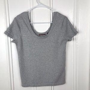 525 America gray scoop neck v neck t shirt
